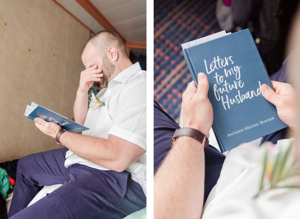 groom getting ready on cruise ship to turks and caicos by Costola Photography