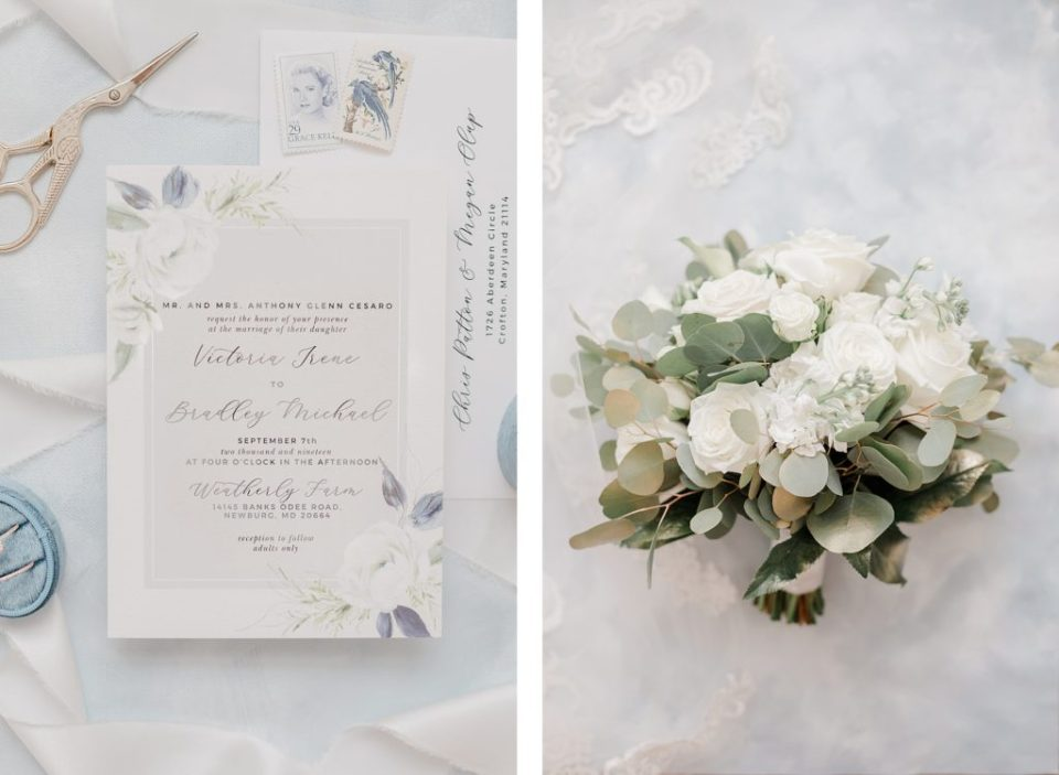 Blue and White wedding details at waterfront weatherly farm wedding by Costola Photography