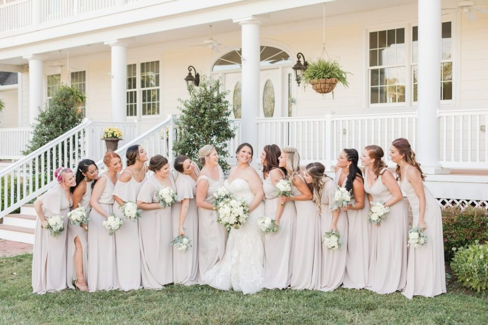 Bridal Party in front of manor at Weatherly Farm photographed by Costola Photography