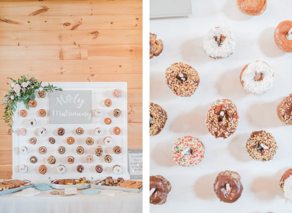Donut Wall at a wedding by Costola Photography