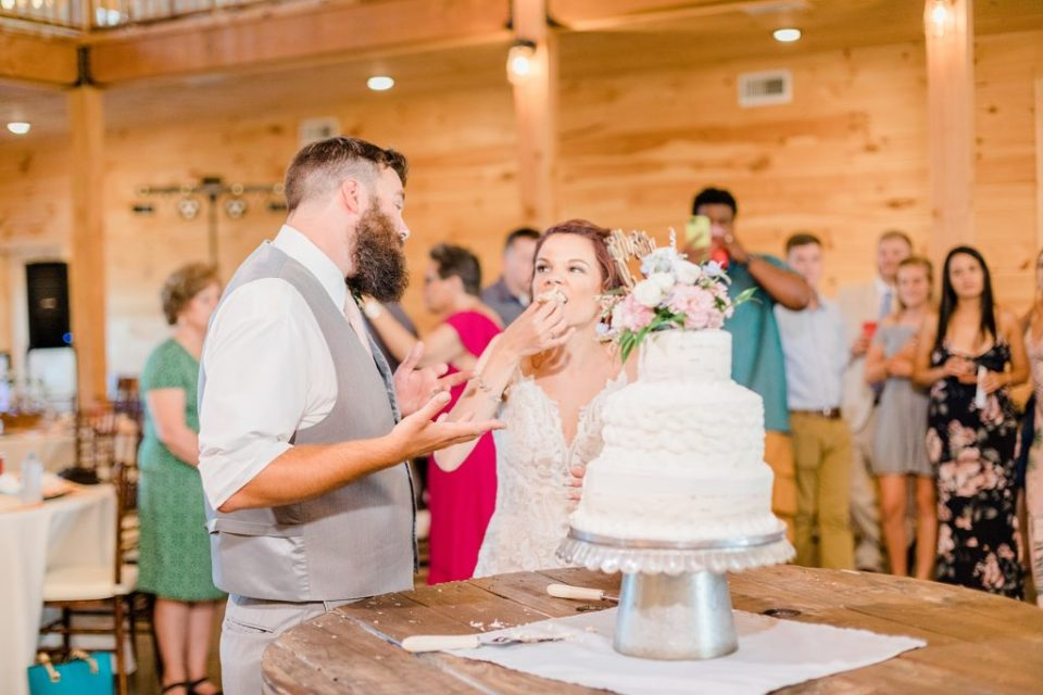 Bride and Groom cutting cake at a wedding by Costola Photography