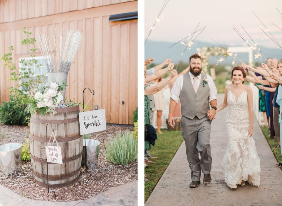 Bride and Groom Kissing with Sparker Send Off at The Homeplace At Johnston Farm by Costola Photography