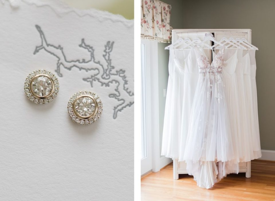 diamond earrings and dresses hanging by Costola Photography