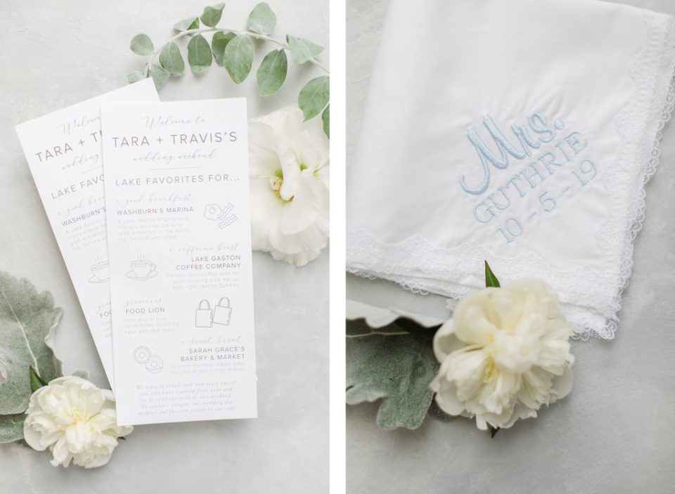wedding activities guide and embroidered handkerchief by Costola Photography