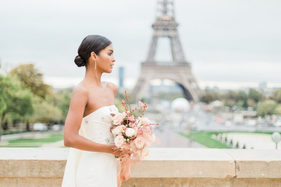 Eiffel Tower Elopement in Paris, France at Trocadero