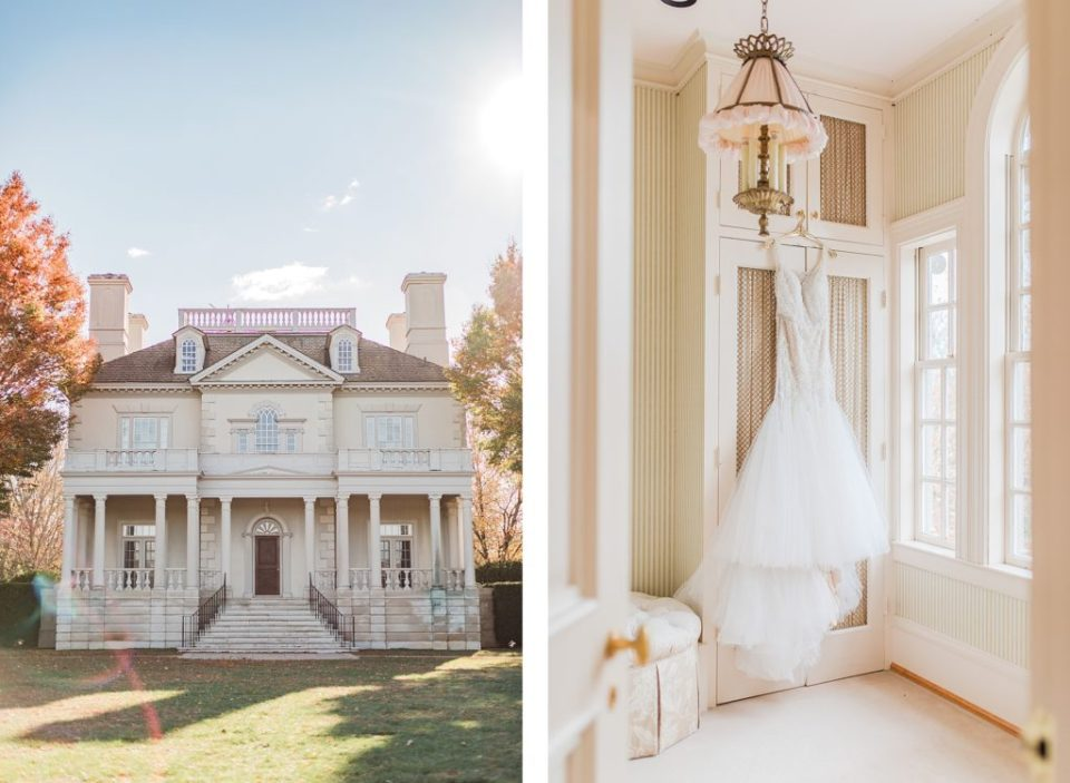 Wedding Dress hanging at The Great Marsh Estate photographed by Costola Photography