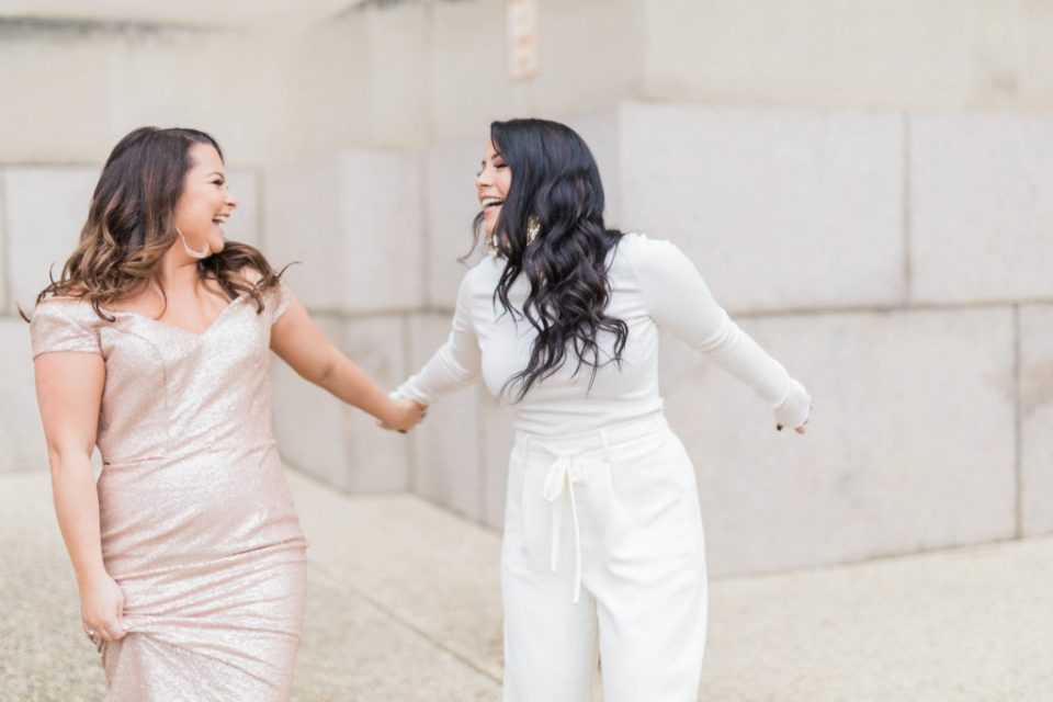 2019 internship girls holding hand and dancing by costola photography