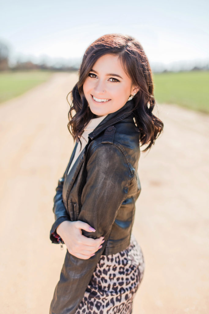 La Plata High School Senior Girl in leather jacket by Costola Photography