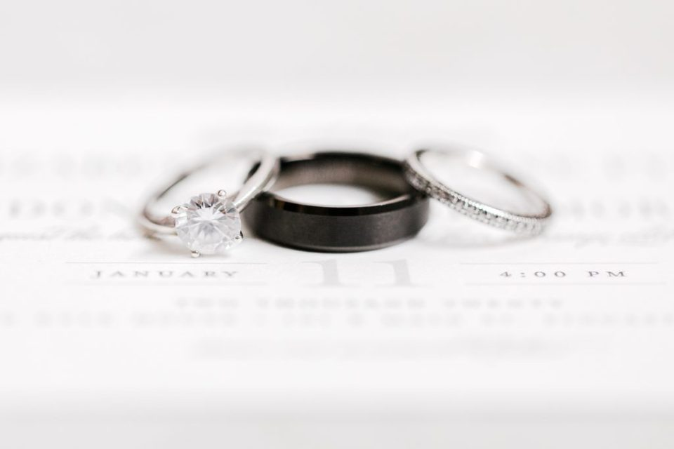 wedding rings for black and white winter wedding at the kyle house by costola photography