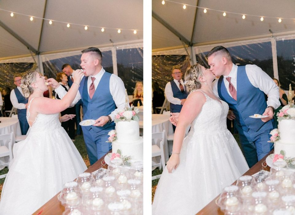 Bride and Groom Cutting Cake at Sotterley Historic Site Wedding by Costola Photography