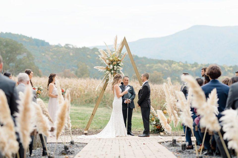 Ceremony at Boho Chic Shenandoah Woods Wedding