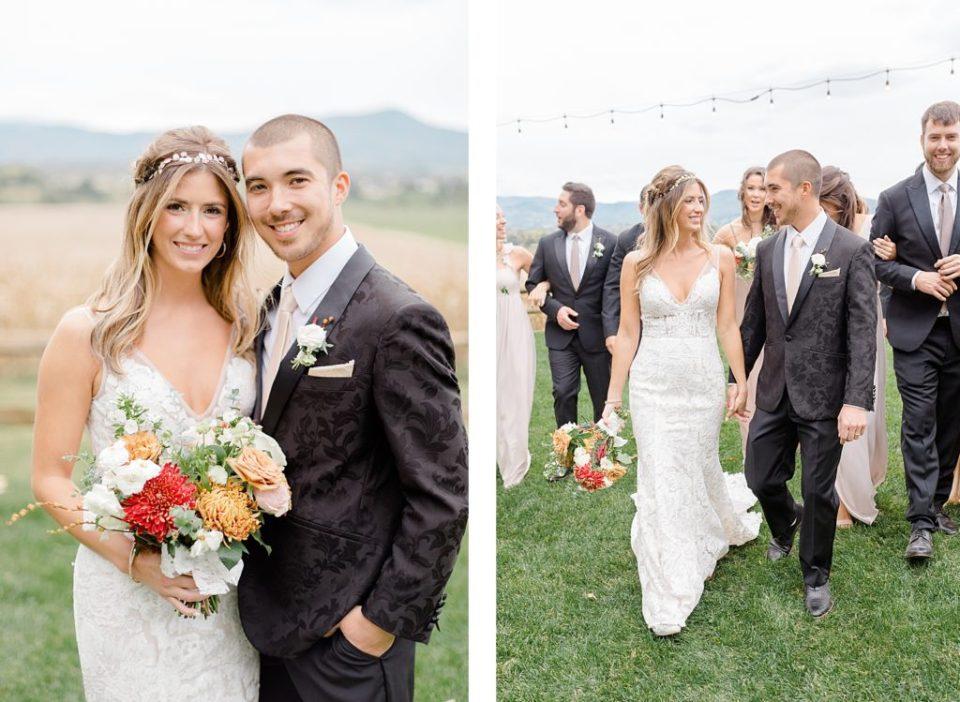 Bride and Groom at Boho Chic Shenandoah Woods Wedding