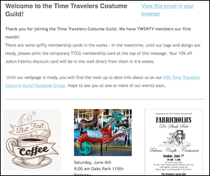 Sample image of the Time Travelers Costume Guild Newsletter