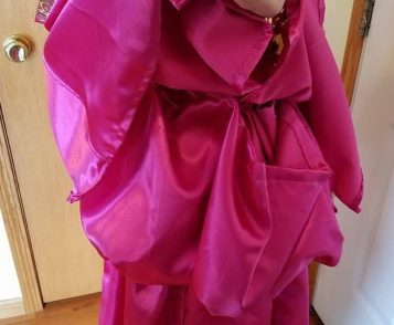 view of pink pouch when dress snapped, Cinderella