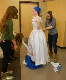 getting ready for packing up ball gown