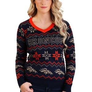 Denver Broncos Light Up V-Neck Bluetooth Sweater for Women