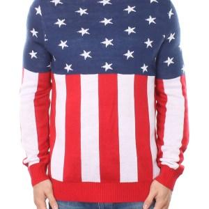 Tipsy Elves Mens American Flag Holdiay Sweater