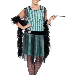 Women's Plus Size 1920s Mint Coco Flapper Costume 1X 2X 3X 4X