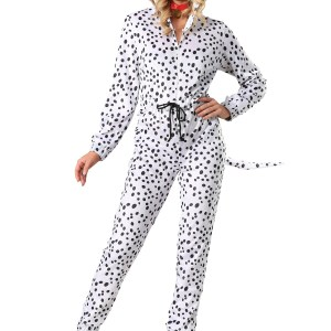 Women's Plus Size Cozy Dalmatian Jumpsuit Costume 1X 2X