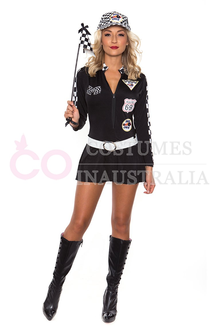 Black Sexy Miss Indy Super Car Racer Racing Sport Driver Super Car Grid Girl Fancy Costume Outfit