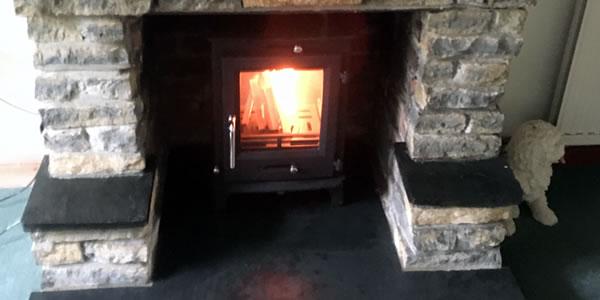 Salte hearth, Slate Mantel Piece and Wood burner installation