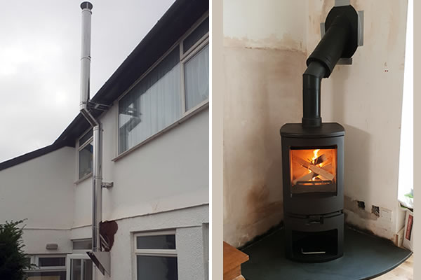 Twin Wall Chimney Solution and Woodburner installation in Minehead