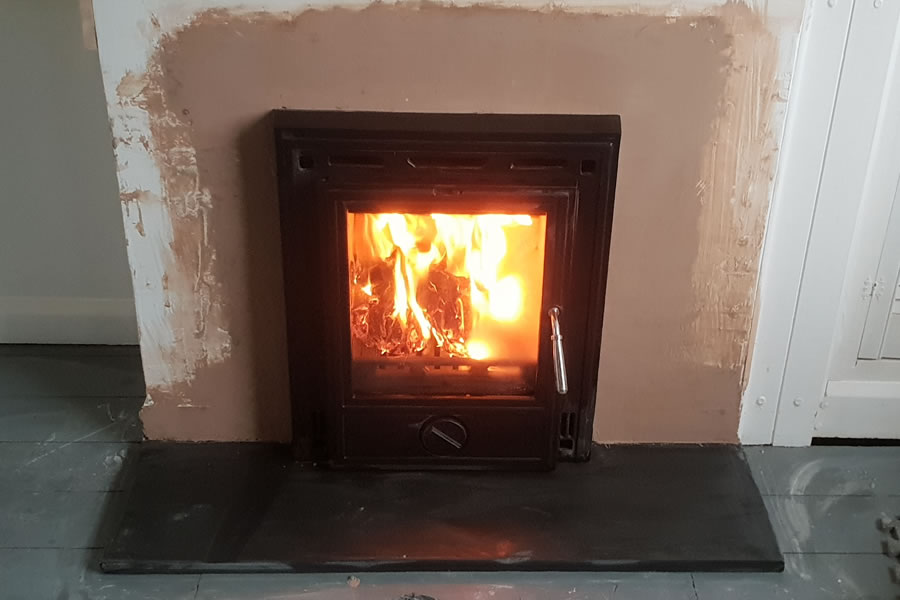 Inset woodburning stove installation installer Dulverton Somerset
