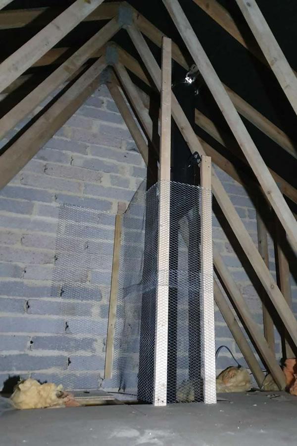 Twinwall chimney system in loft