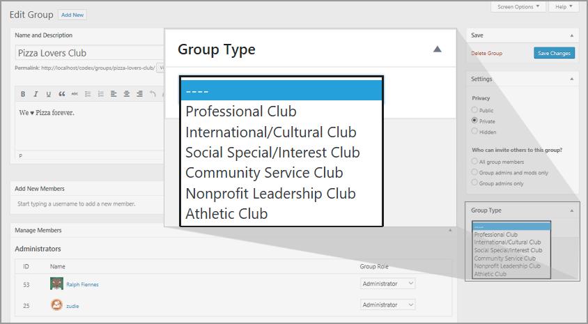 BuddyPress 2.6 - работа с типами групп