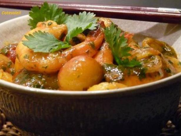 Mirabelles & gambas mielees sauce curry