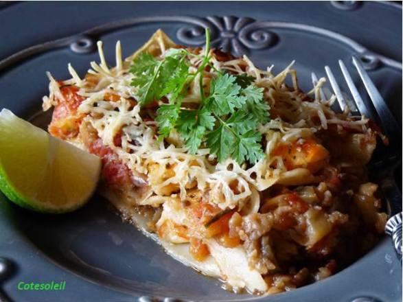 Lasagnes aux aubergines crevettes pimentées