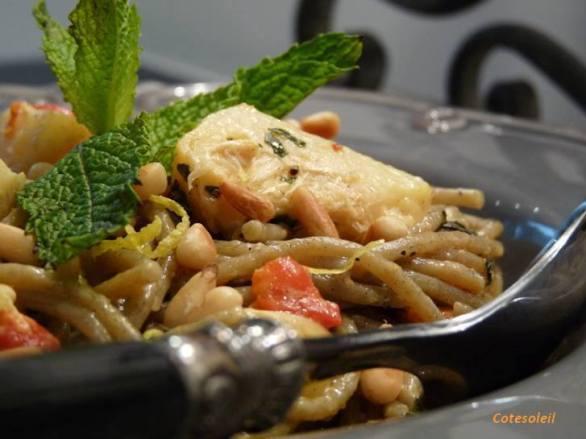 Spaghetti basilico aux coeurs d'artichaut confit & pignons