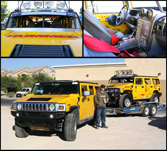 Sam Cothrun with the Rod Hall Racing team Hummer H2