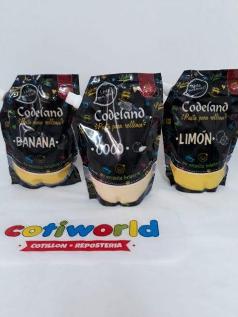 Pasta para relleno Codeland sabor: Limon, banana y coco.