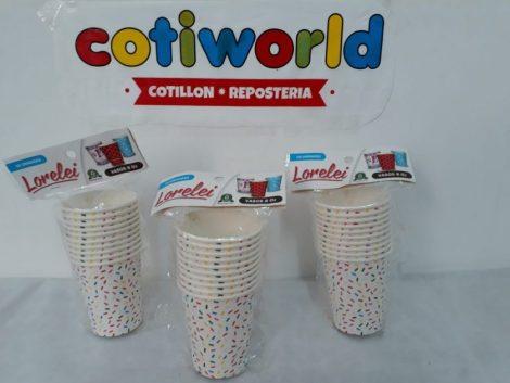 Vasos de polipropeno decorados con granas de colores x10unidades