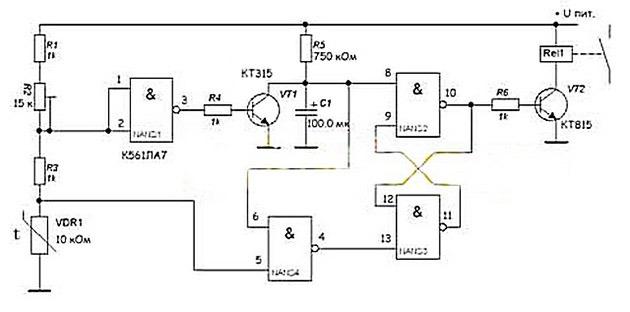 чертеж регулятора температуры со встроенной логической микросхемой К561ЛА7