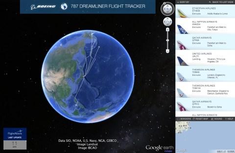 787 Dreamliner Flight Tracker - Google Earth View