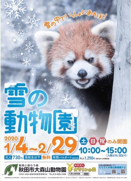 秋田市 大森山動物園 1月4日~2月29日までの土・日・祝日