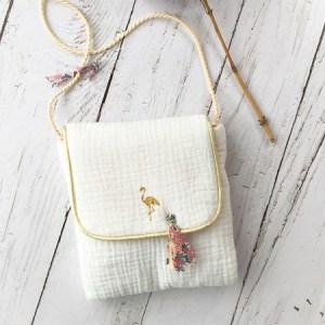 Petit sac double gaze en bandoulière-blanc