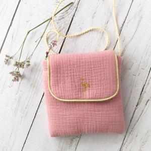 Petit sac double gaze en bandoulière-rose