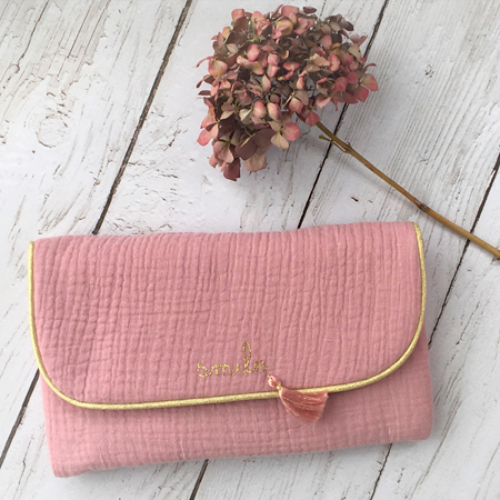 Pochette double gaze rose