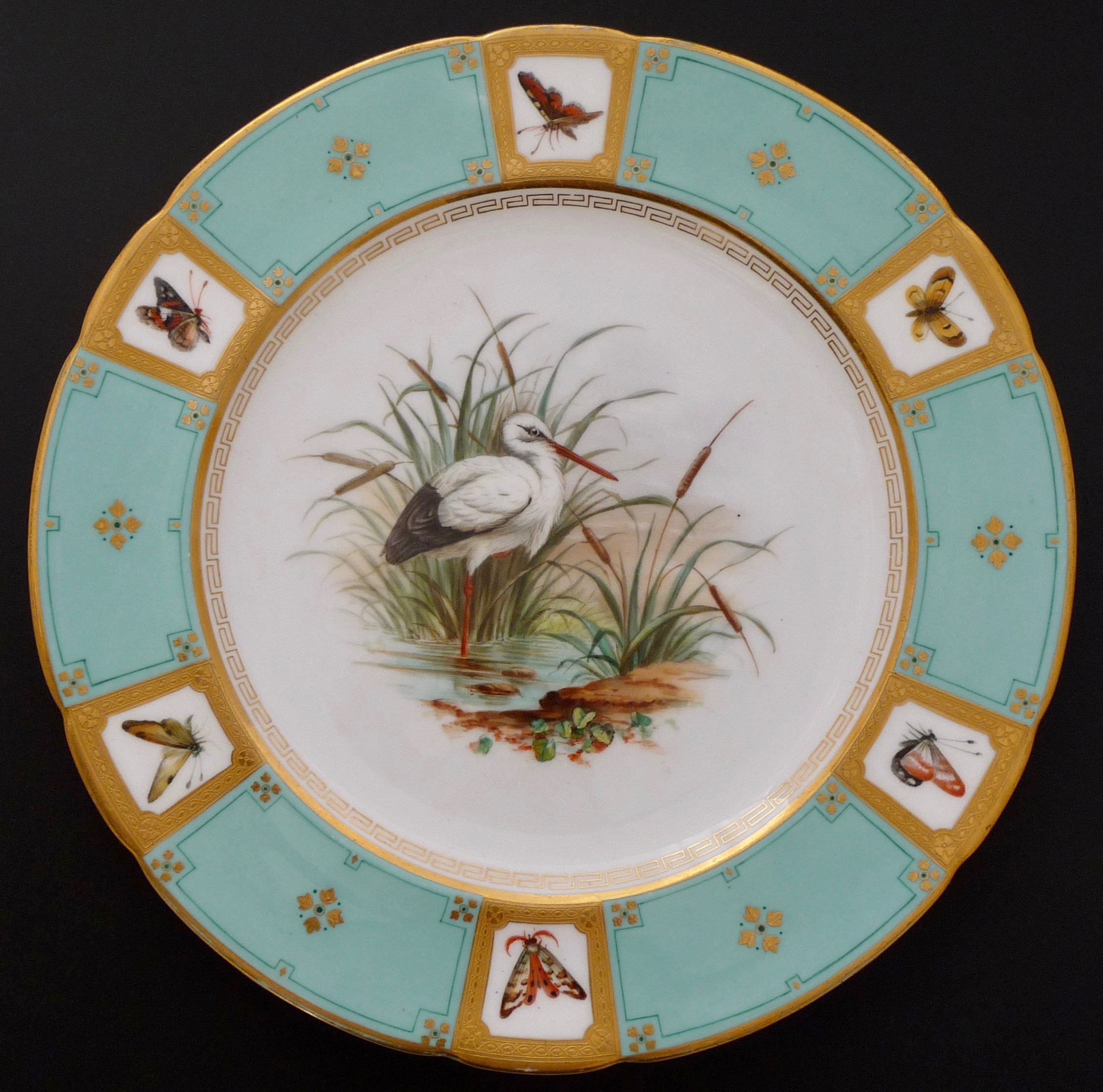 Moths In Kitchen Cabinets: Minton Cabinet Plate, White Stork And Butterflies, 1868