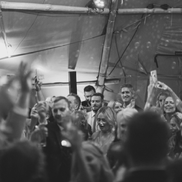 Wedding Party in the tipis makes for an amazing atmosphere