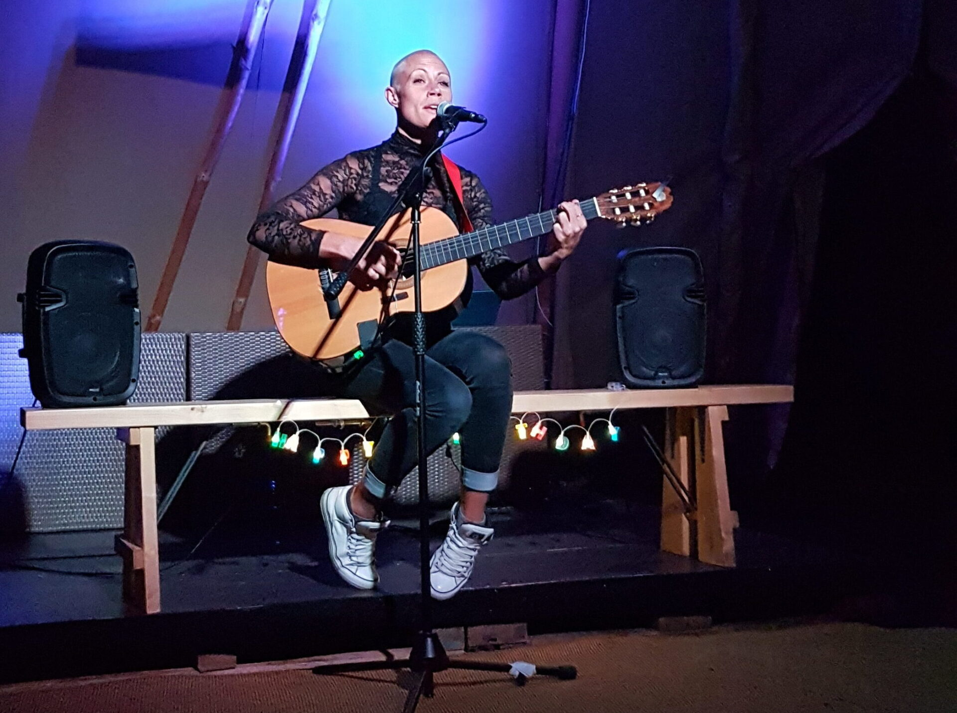 Wrenne performing in the Tipis at the Edinburgh Festivals