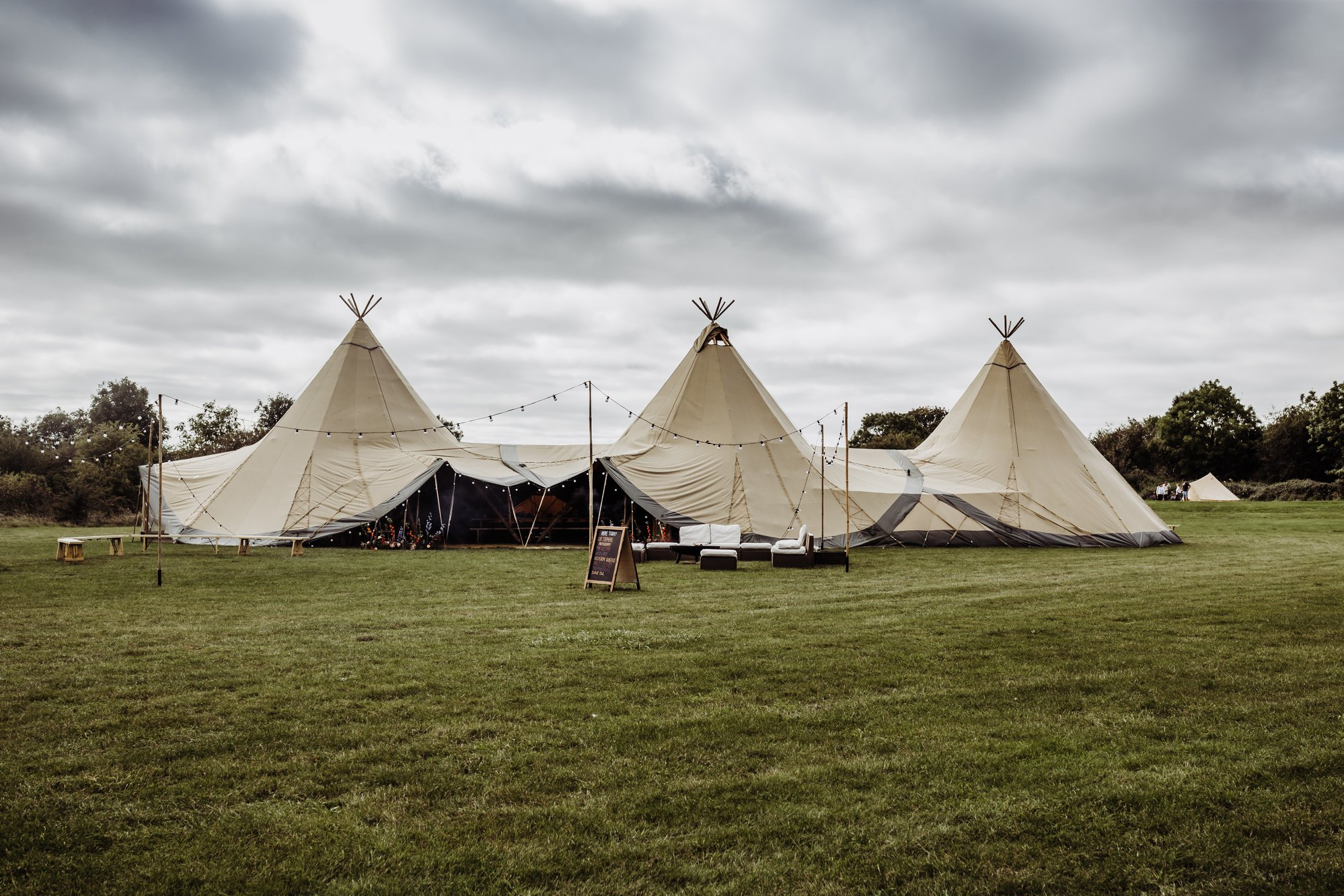 Photo of 3 Giant Tipis set up for a wedding, ideal for 120-180 guests