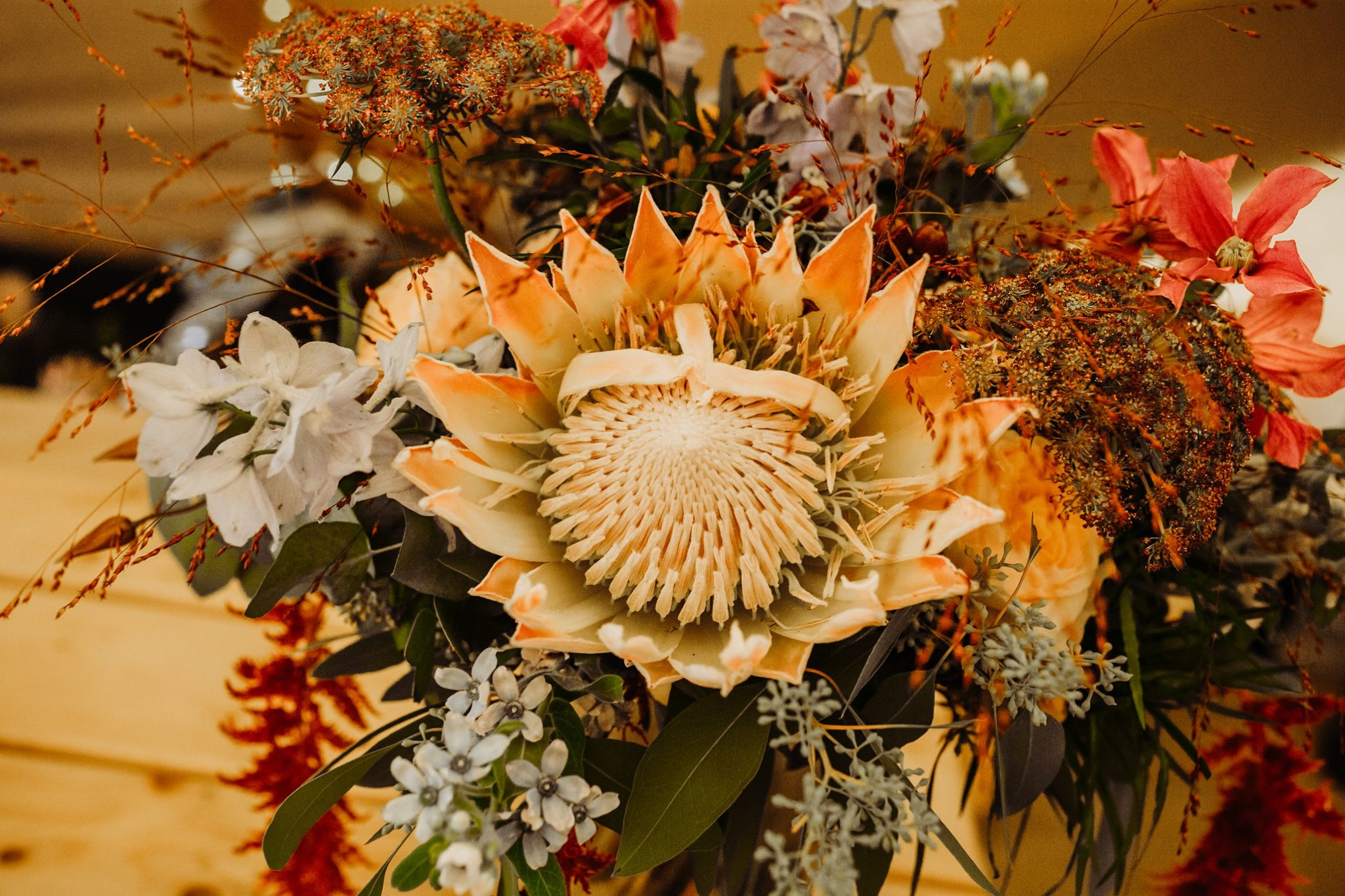 King Protea boho bridal bouquet by The Lily Pad Florist, Stroud