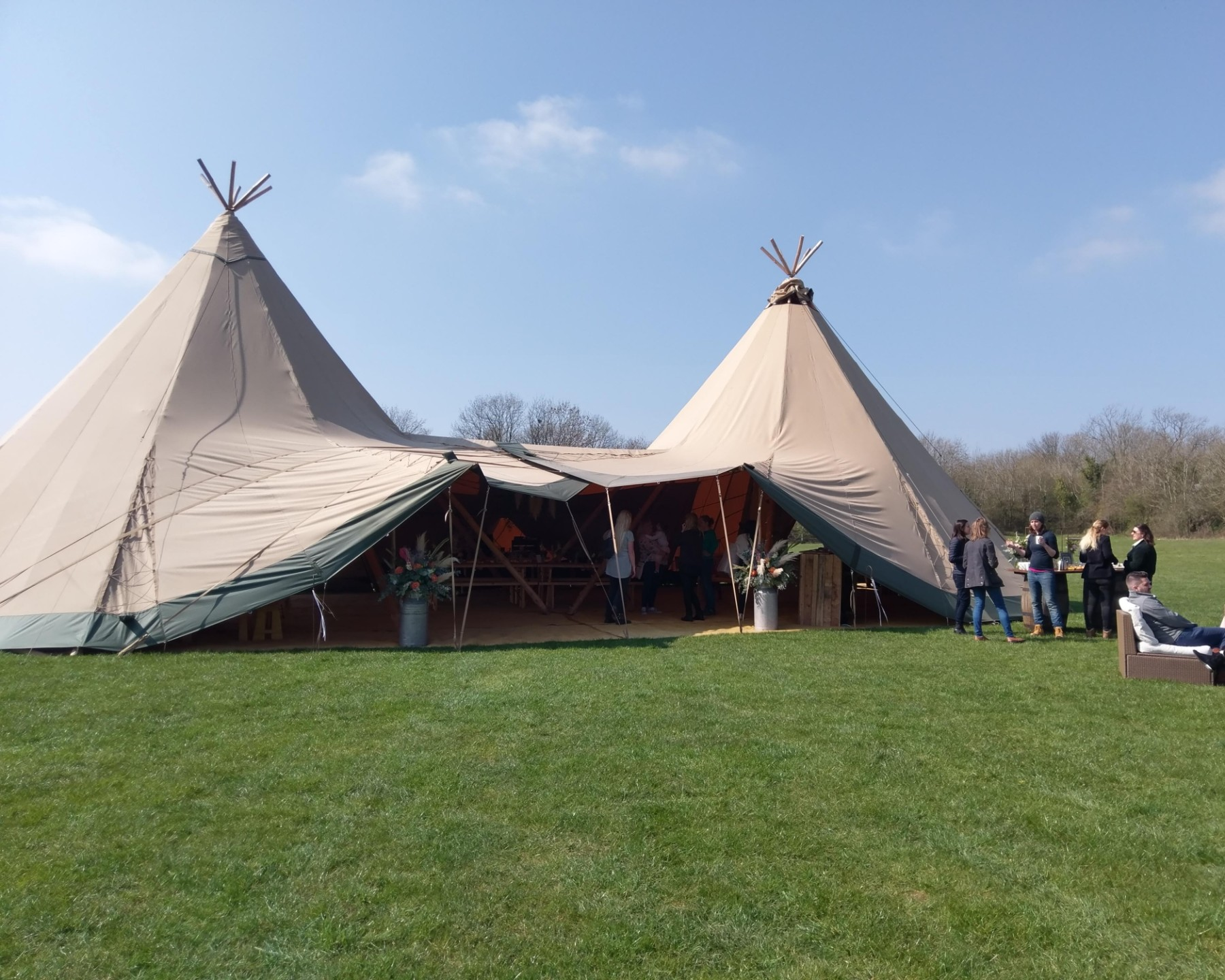 Image showing an example of a central entrance into 2 Tipis for weddings and events.