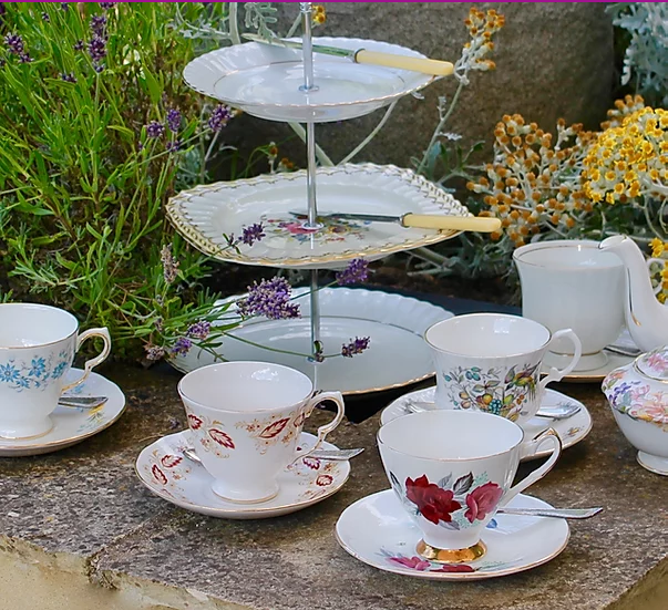 Vintage china and cake stands by Cotswold Vintage Tea Sets