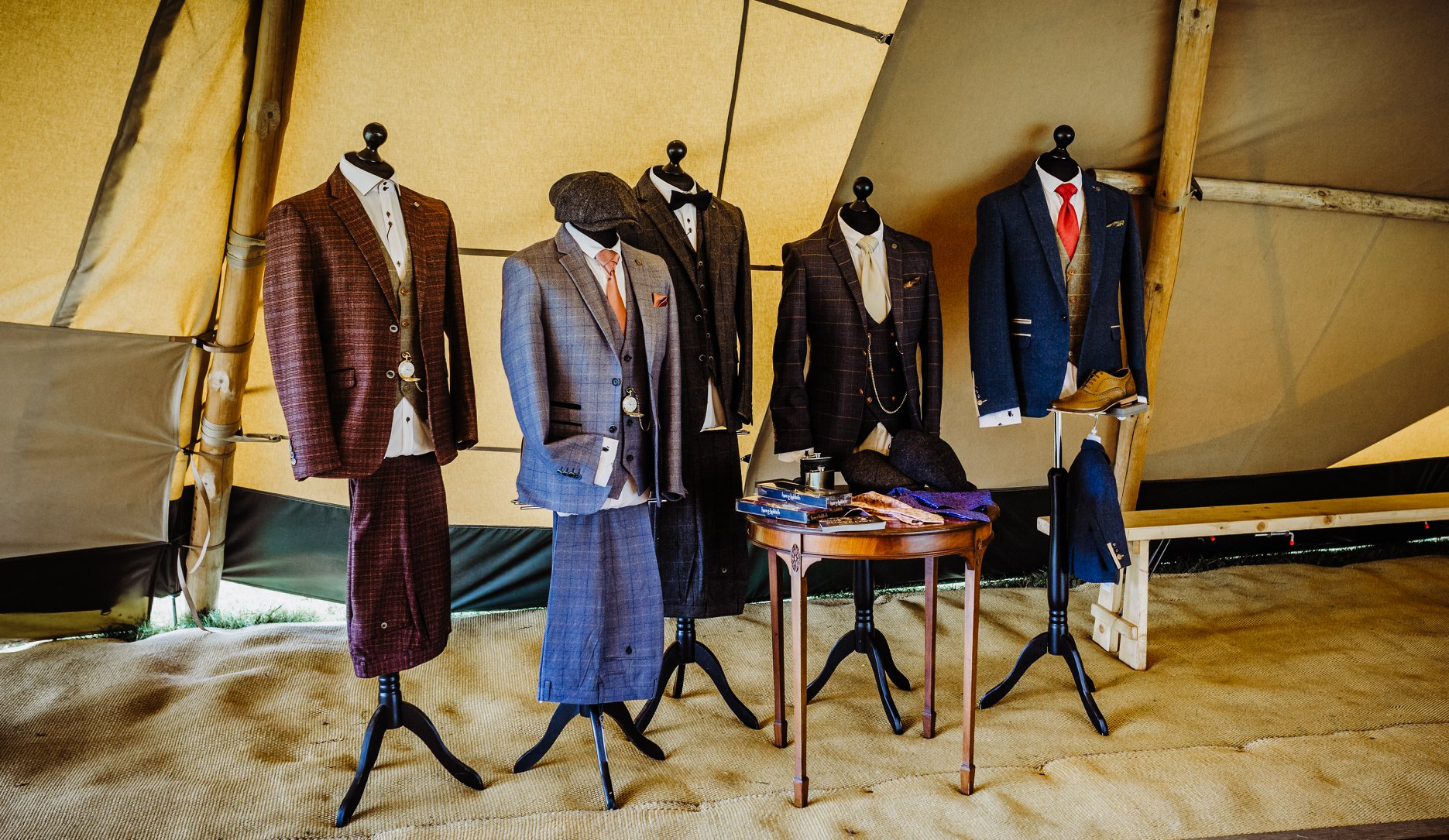 Suave Owl 1920s inspired tweed Menswear and Wedding Suits in blue, burgundy and grey at the Cotswold Tipis Open Day