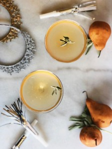 smoke sage and pear champagne cocktail